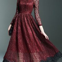Burgundy Crochet Cut Out Midi Lace Dress