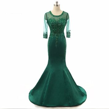 Elegant women robe Mermaid Beaded Crystal Sheer sleeves Satin long train Emerald green dresses