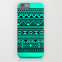 Mint Turquoise Black Aztec Urban Tribal Pattern iPhone & iPod Case by Hyakume