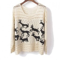 Hollow Out Reindeer Sweater in Beige