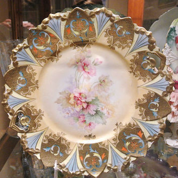 RS Prussia Cake Plate Antique Porcelain Art Nouveau 1900s Victorian Germany Heavy Gold Buff Edge Pink Floral Decor  Rare German Centerpiece