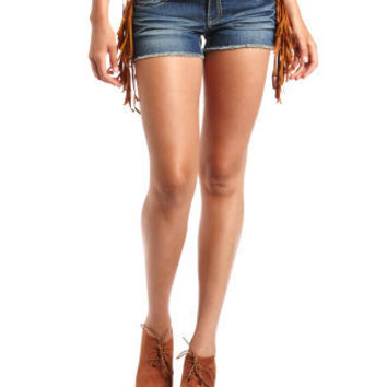 Hot Kiss Fringe Trim Denim Short