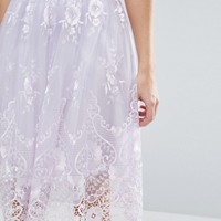 Chi Chi London Midi Skirt In Scallop Lace at asos.com