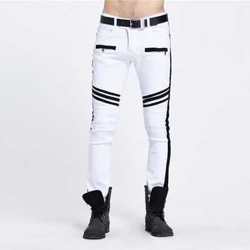 Men Skinny Zipped Jeans Men White biker motorcycle Slim Jeans Men Casual Denim Pants Jogger Pants