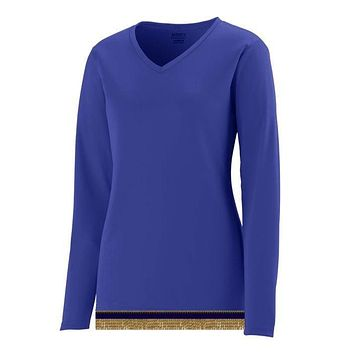 Women's Performance Purple Long Sleeve T-shirt With Fringes