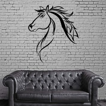 Mustang Horse Head Pony Stallion Silhouette Wall Mural Vinyl Art Sticker Unique Gift M537