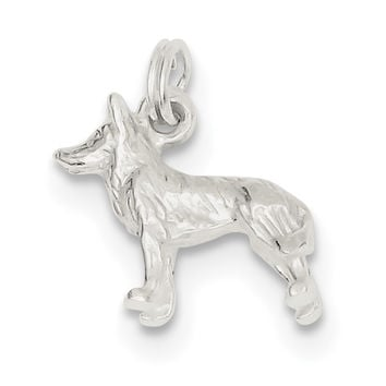 Sterling Silver Polished Wolf Charm QC7148
