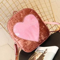 2018 Velvet Women Travel Backpack Ita Bag DIY Transparent Love Heart Shape Backpack Kawaii Harajuku Schoolbags For Teenage Girls
