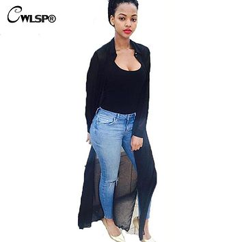 CWLSP 2017 Summer Womens Long Trench Coat Chiffon Turn-Down Collar Cardigan Windbreaker Black duster Women coat QZ1411