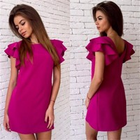 Women summer Sexy Back V Straight dress 2018 New Butterfly sleeve Beach Casual Party Red Sky blue Dress Mini Plus size