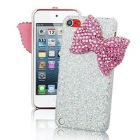 Silver Luxury Sparkles Glitter Rhinestone Bow Knot Special Party Crystal Classic Hard Case Cover For Apple iPhone Mobile Smart Phones (iPhone 5C, Pink)