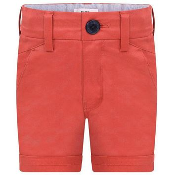 NOV9O2 Hugo Boss Boys Red Bermuda Shorts