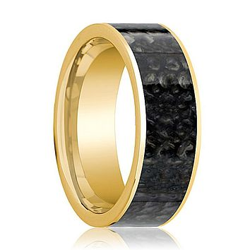KHAAN Blue Dinosaur Bone Inlaid 14k Yellow Gold Wedding Band for Men Flat Polished Design - 8MM