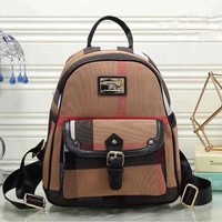 Burberry Women Casual School Bag Cowhide Leather Backpack G