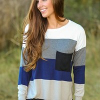 LOVE STITCH:Pocket Full of Sunshine Sweater-Navy