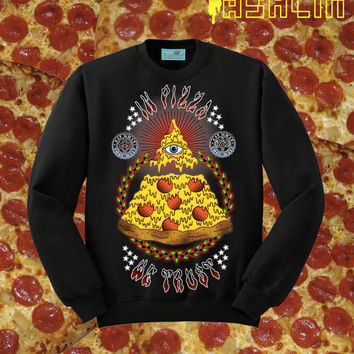 UNISEX All Seeing Eye Pizza Slice Sweatshirt // ILLUMINATI // Black // fASHLIN