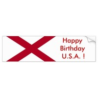 Sticker Flag of Alabama, Happy Birthday U.S.A.!