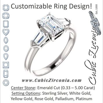 Cubic Zirconia Engagement Ring- The Fortunada (Customizable 5-stone Design with Emerald Cut Center and Quad Baguettes)