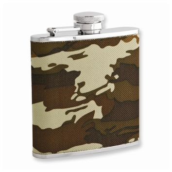 Rebel Steel Nylon Camo 5oz Stainless Steel Flask with Funnel