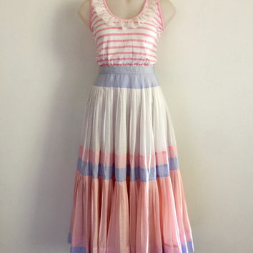 PRUE ACTON!!! Vintage 1980s 'Prue Acton' tri colour pastel circle skirt with pleating and panelling