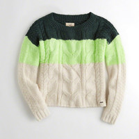 Girls Colorblock Cable Crewneck Sweater | Girls New Arrivals | HollisterCo.com