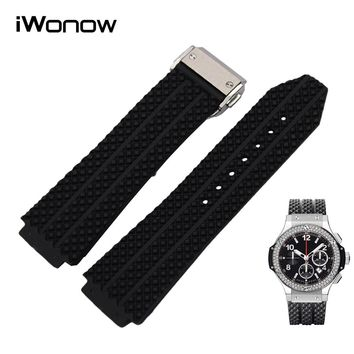 Silicone Rubber Watchband 26mm x 19mm for Hublot HUB Big Bang Men's Watch Band Steel Butterfly Buckle Strap Wrist Bracelet Black