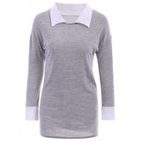 Casual Flat Collar Long Sleeve Color Block Women's Blouse
