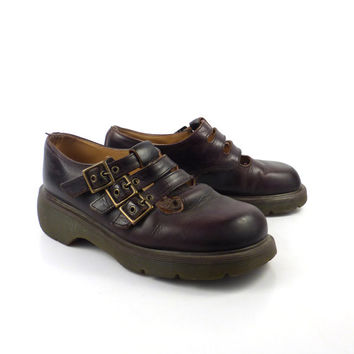 Dr Martens Shoes Mary Janes 1990 Doc 3 strap Brown Leather Made in England UK size 6 US size 8