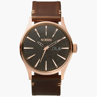 Nixon The Sentry Leather Watch Rose Gold/Gunmetal/Brown One Size For Men 25570138101