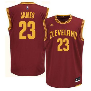 Mens Cleveland Cavaliers LeBron James adidas Wine Replica Road Jersey