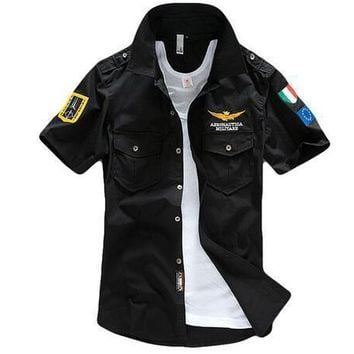 Aeronautica Militare Air Force One T Shirt Men Brand Shirts Men Military Plane Pilot Shirt Chest Logo Embroidery Casual Shirt - Ready Stock