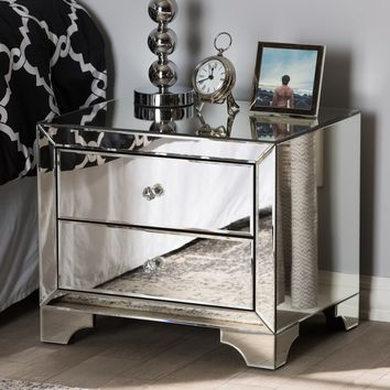 Glam Silver Mirrored Nightstand by Baxton Studio | Overstock.com Shopping - The Best Deals on Nightstands
