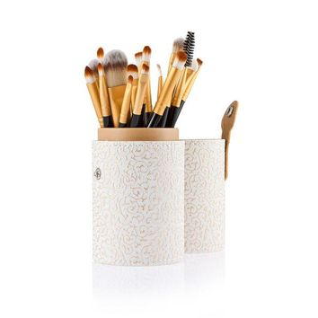 VONEGQ 20pcs Makeup Brushes + Cosmetic Brushes Pen Holder PU Leather Container White