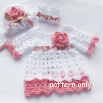 Crochet baby dress , hat shoes PATTERN , crochet pattern, dress pattern , baby girl dress pattern, crochet pattern