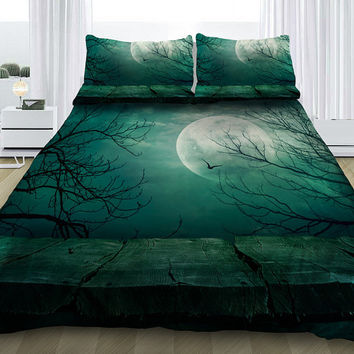 Moon bedding set moon duvet cover with sheets and pillowcases moon print bedding sets custom made all sizes