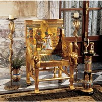 Design Toscano King Tutankhamen's Egyptian Throne Arm Chair