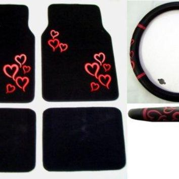 Pink Multi Color Hearts Combo - Front & Rear Carpet Floor Mats & Steering Wheel Cover, FLOOR MAT By la auto gear