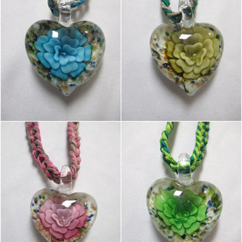 FLOWER HEART Murano Hemp Necklace Glass Jumbo Pendant - You Choose Color