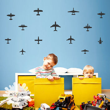 Airplane Wall Decal /  Airplane wall Sticker / Boys Room Decor / Custom Kids wall decals / Nursery Wall Art / removable vinyl / gift