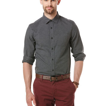 MELANGE SOLID LONG SLEEVE SHIRT
