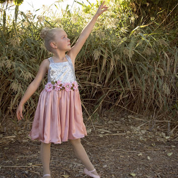 """The """"Brielle"""" Shimmer Silver Dusty Rose Tutu Dress"""