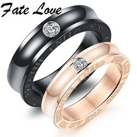Fate Love Classic Black/Rose Gold Color Stainless Steel Couples Rings with 3A Stone For His & Her Promised Engagement Band FL494