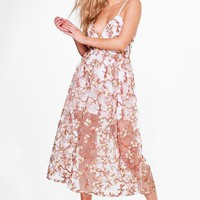 Boutique Pia Embroidered Midi Skater Dress | Boohoo