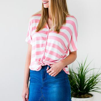 Lucky Charm Stripe Tie Front Top - Blush