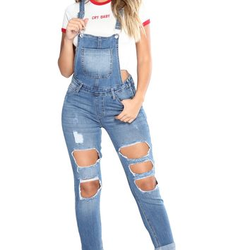 Chicloth Light Blue Exposed Boyfriend Overalls