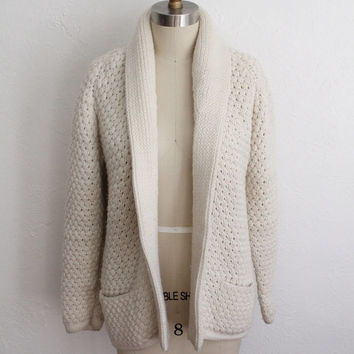 Vintage 60s Long White Shawl Collar Open Cardigan // Women's Knit Sweater