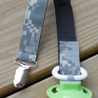 Military Baby, Military Pacifier Holder, US Army ACU Fabric Pacifier Holder , ACU Camouflage Fabric Pacifier Holder, Binky Clip
