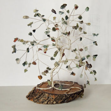 Indian Agate gemstone wire tree, bonsai tree, gem tree,wire sculpture