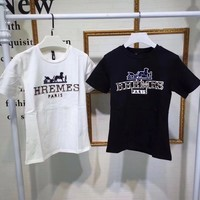 """""""Hermès"""" Women Casual Classic Letter Embroidery Short Sleeve T-shirt Top Tee"""