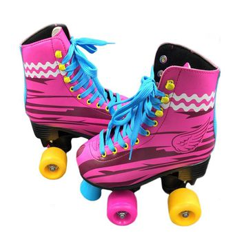 BSTFAMLY Double Row Roller Skates Size 31-38 Figure Skating Two Line Roller Patines For Kids Adult PU wheels Pink Shoes IB100